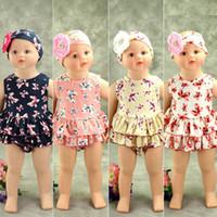 Wholesale Floral Vest Outfits - Babies Summer Floral Outfits Bebe Floral Cotton Vests with Ruffle Short Pants 2017 Childrens Fashion Sets kids clothing