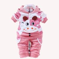 ingrosso vestiti della mucca del neonato-Neonate Abbigliamento Cartoon Coniglio Cow Newborn Boy Marca Velluto Hooide + Pantaloni Twinset Kids Infant Sport Suit