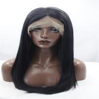 schöne lange haare frauen großhandel-PERLE BESTUNG Ombre Brown Highlights lange gerade synthetische Haar Lace Front Perücken schöne aussehende Frauen voller Perücken hitzebeständig für schwarz