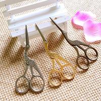 Wholesale Crane Cross Stitch - Crane Shape Cross Straight Scissors Stainless Steel Retro Craft Shears Cross Stitch Scissors