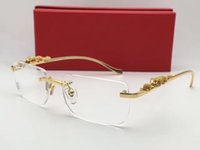 Wholesale luxury brand glasses Prescription T36456431 rimless gold frame leopard animal legs optical for men design clear glass
