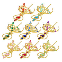 Wholesale Princess Tiara Party - gold rhinestone Princess Cosplay Accessories Children Diamond Crown Tiaras + Magic Wands Kids Christmas Party Gift