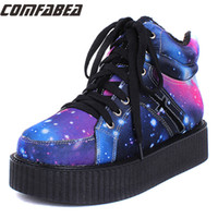 Wholesale Galaxy Platform - Wholesale-Size 35~40 Womens Winter Punk Shoes 2015 Harajuku Creepers Platform Women Casual Comfortable Galaxy Blue Goth Punk ankle boots