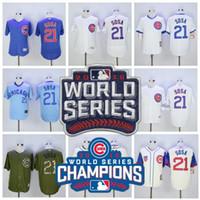 Wholesale Soft Jerseys - 2016 World Series Champions Baseball 21 Sammy Sosa Jersey 100th patch Soft Cool Base Flexbase Chicago Cubs Jerseys White Pinstripe Grey