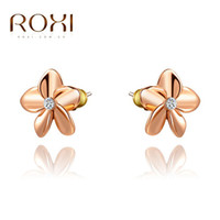 Wholesale Christmas Star Stud - ROXI Brand Christmas Gift Star Design Stud Earrings Fashion Jewelry Rose Gold Platinum Plated For Women Party Wedding Jewelry