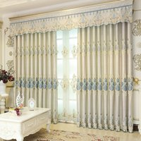 Wholesale Door Window Curtains - Chenille Blackout Drapes Bedroom Window Curtains Modern French Door Curtain Embroidered Window Valances 42W 50W 72W 1 Set Wholesale