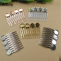 Wholesale Hair Clips Blanks - BOYUTE 10 Pieces 12MM Cabochon Base Hair Comb Blank 10 Forks 6 Colors Plated Diy Hair Accessories