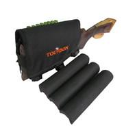 Wholesale Cheek Piece - Tourbon Hunting Shooting Black Neoprene Rifle Cheek Piece Rest Cartridge Holder 10 Shells Left Hand Hunting Gun Accessories