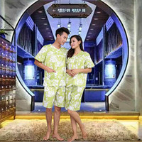 Wholesale Cotton Bathrobes Men Wholesale - Slipper and Steam service Summer Nightgown Women Men Cotton Short Sleeved Pajamas Bathrobe Clothing Home Furnishing Steam Service