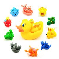 Wholesale Cute Dolphin Kids - Wholesale- Baby Bathroom Water Toy Bath Toys For Children Kids Yellow Floating Rubber Ducks Shower Cute Toy Tortoise crocodile dolphin