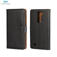 Wholesale Lg L5 Optimus Leather - For LG Leon X Power K4 K7 K8 Optimus L5 II Genuine Flip Leather Case Wallet Credit Card Holder Stand Magnetic Cover Shockproof