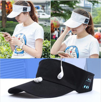 Wholesale Apple Hats Wholesale - Wireless Bluetooth Headphone Hat 2 in1 Headset MenaBluetooth S Female Outdoor Sports Music cap style headphone for xiaomi iphone mobilephone
