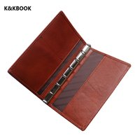 Wholesale A7 Notebook - Wholesale- K&KBOOK Cow Genuine Leather Sprial Notebook A7 Pocket Travel Journal Handmade Notepad Vintage loose leaf Journal school supplies