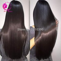 Wholesale side u part wig - Long Silky Straight Human Hair U Part Wig For Black Women Side Middle Part Virgin Brazilian UPart Wig Natural color