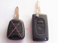 Wholesale Auto Remotes Shells - Remote Key Case Shell Refit fliping fit for 2 BTN PEUGEOT 206 205 405 106 Key Case uncut 1pc auto parts
