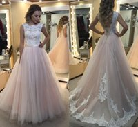 Wholesale Country Girl Sexy - 2017 New A Line Girls Prom Dresses Sheer Jewel Neck Appliques Lace Floor Length Evening Gowns with Lace up Backless Party Gowns Country