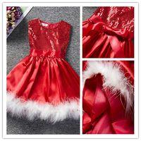 Wholesale 1pcs Tutu - 1pcs Christmas Girls Paillette Dress Vest Kids Clothes Kids Party Dressy Girl Santa Xmas Clothing Dresses AA33