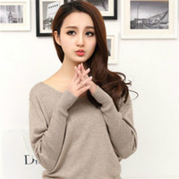 Wholesale batwing sleeve knit - Autumn winter 100 cashmere sweater women fashion sexy v-neck sweater loose long sleeve solid 100% wool sweater