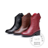Wholesale Motorcycle Back Light - Back Zipper Single Shoes Various Cowhide Warmth Red Riding Women Boots Plus Size Velvet Half Winter Funky Wild Thick Heel