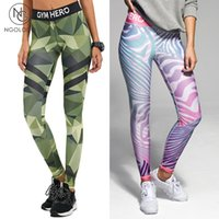 Wholesale Knitted Leggings For Girls - Wholesale- NGOLODO Fitness leggings Women Workout Hero Print sexy Pants for girls stripe push up jeggings Stretch Female sporting trousers