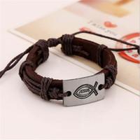Wholesale love braided bracelet online - Fish Charms LOVE JESUS Bracelet Braided Handmade Leather Men Alloy Free Size Fashion Jewelry Unisex Charm Bracelets