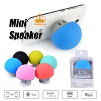Wholesale Mini Mushroom Bluetooth Speaker - Portable Bluetooth Speaker Wireless Handsfree Mushroom Speaker With Sucking Disc Bracket for iphone samsung MP3 pad tablet pc with retail