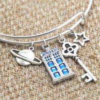 Wholesale planet charm bracelet - 12pcs Doctor Who inspired bracelet Planet TARDIS Key star charm bangle bracelet