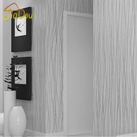 fibra de flocado al por mayor-Banda de fibra vertical Fibra Vegetal Transpirable flocado fondo de pantalla en relieve no tejido para sala de estar Sofá fondo revestimiento de pared