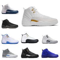 Wholesale Hot Basketball Shoes - hot air retro 12 mens basketball shoes wool mens sneaker Black Nylon Blue Suede discount shoes flu game french blue sports shoes online