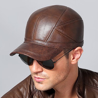 Wholesale Wholesale Outdoor Ear Flap Hats - 2017 New Winter Autumn Men's Cowhide Hats Warm with Ear Flaps Protector Men Genuine Outdoors Baseball Caps Snapback Windproof Anti-cold