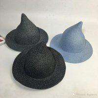 Wholesale Children Ribbon Hats - Top Hat Child Kid Gandalf Witch Wizard Cosplay Party Carnival Halloween Braided Rope Ribbon Carnival Girl Children Straw Hat Sun Cap