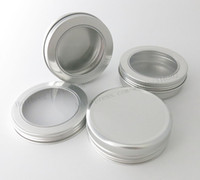 Wholesale Aluminum Window Glass - 50 x 100g Aluminum Jar Container With Window 100ml Metal Display Tin for cream, sugar, storage, display, jewelry, glitters use