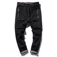 Wholesale Wholesale Man Jeans - Wholesale- Mens Biker Motorcycle hip hop Loose Hi-Street jeans men fashion Solid Cotton retro Jeans stretch Straight Jane Denim Trousers