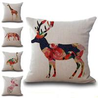 Wholesale Giraffe Throw - Colors Tropical Animal Giraffe Zebra Elephant Pillow Case Cushion Cover Linen Cotton Throw Pillowcases Sofa Car Decorative Pillowcover PW580