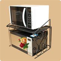 Wholesale Microwave Oven Shelf - Iron Microwave Oven Shelf Multipurpose Rack With Double Layers Kitchen Storage Bathroom Organizer Free Shipping ZA4635