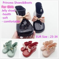 Wholesale Jelly Flower Boot - 1 Pair Melissa Children Bow Butterfly Shoes Girls Jelly Non-Slip Water Boots Princess Fragrant Shoes Baby Water Boots Shoes