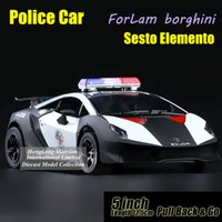 Wholesale Toy Police Cars Models - 1:36 Scale Alloy Diecast Metal Police Car Model ForLam borghini Sesto Elemento Collection Model Pull Back Toys Car - Black