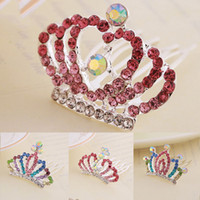 Wholesale Crystals Tiara Birthday - Crystal Princess Crown Hair Comb Kids Birthday Party Tiaras Girls Hair Clips Kids Hairpins Hair Jewelry Accessories