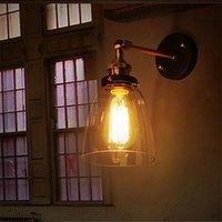 luces de oficinas industriales al por mayor-Loft Industrial Vintage Lámpara de pared Simplicity Glass LWall Lights Metal Base Cap Comedor Sala de estudio Office Hallway Retro Home Lighting