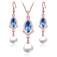 conjunto de joyas de perlas austriacas al por mayor-8 Sistemas de la joyería de la perla del estilo Chapado en oro platino plateado Collar de diamantes de imitación de cristal austriaco Pendientes Juego de joyería nupcial de la boda de la muchacha de las mujeres