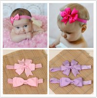 Wholesale Hair Elastics Flowers - Wholesale- baby girl kids elastics hair head bands flower satin ribbon bows headband accessories for newborns hair wrap hairband headwear