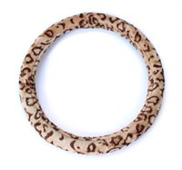 Wholesale slip cover car - 1X Soft Leopard Plush Auto Car Steering Wheels Cover Anti-slip 38CM 15""