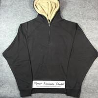 Wholesale Baggy Hoodies - Wholesale-Best version 2016 winter Fear of God FOG half zip sherpa baggy loose Extended Justin Bieber long sleeve pullover hoodie