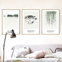 Wholesale Modern Style Panel - 35*50cm Modern Home Wall Decoration Wall Art Painting Western Style Refreshing Dining Room Wall Paints Plants Leaves Framed Paintings
