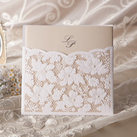 Wholesale Lace Wedding Invitations Sets - Wholesale- 2016 Amazing Lace Floral Free Personalized & Customized Printing Wedding Invitations Cards in White (Set of 50)