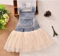 Wholesale Denim Lace Girls Suspenders - New Children's Clothing Washed Denim Kids Jeans Suspender Dress Lace TUTU Tiered Tulle Strap Dresses Baby Girls's Cowboy Party Dress C1749