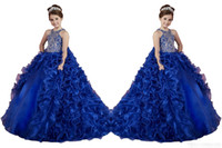 Wholesale Yellow Organza Flower Dance Dress - Luxury Royal Blue Little Girls Pageant Dresses Ruffled Crystal Beads Princess Dance Ball Gowns Kids Party For Wedding Flower Girl Dresses