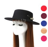 Wholesale Top Hat Rings - High quality New copper ring big pin flat top hat autumn and winter men and women pearl imitation wool hat ceremony cap EMB034