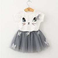 ropa de gatito al por mayor-Ropa de las muchachas fija el nuevo estilo de la moda del verano Cartoon Kitten Printed T-Shirts + Net Veil Dress 2pcs Girls Clothes Sets