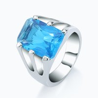 Wholesale Wholesale Swiss Blue Topaz - Swiss Topaz Wedding Ring Sterling Silver Genuine Sweet London Blue Topaz Fantasy Stone Amazing Eternity Ring Size 7 8 BJZ00234